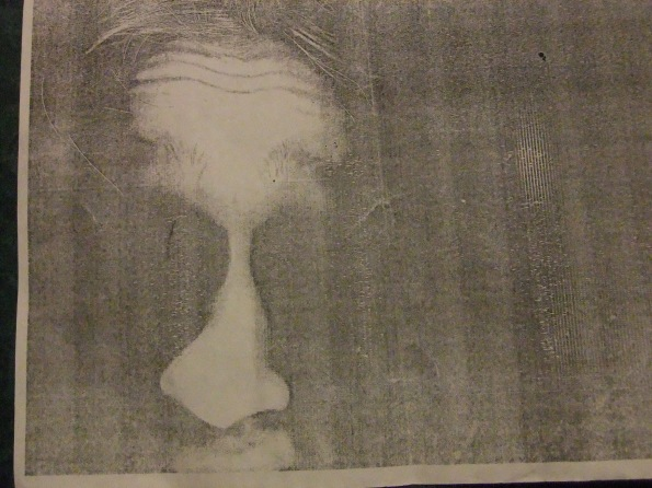 This is a close up of the face on the page